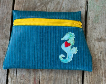 Seahorse Totem Turquoise Vinyl Pouch