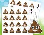 Poop Emoji Stickers | 32 Matte or Glossy Stickers | Planner, Envelope Seals, Gift Bags or Just for Fun | Item MN-004 M21