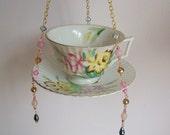 Lovely Vintage Tea Cup Bird Feeder, Planter, Tea Light Holder, Recycled, Upcycled, GARDEN ART, Beaded, Vintage