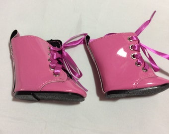 "Shiny pink boots, doll shoes fit 18"" dolls like American Girl, doll clothes"
