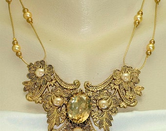 Vintage Victorian Steampunk Antique Filigree Swarovski Crystal & Pearl Focal Statement Pendant Necklace
