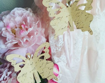 Handmade Butterfly Clothespins Clips, Wedding Butterflies, Handmade Paper Butterflies, French, Vintage  Butterflies, Shabby Chic Butterflies