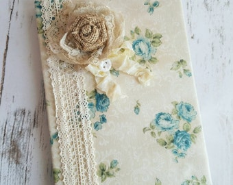 Roses Journal, Shabby CHIC Notebook, Blue Roses, Handmade Fabric Journal, Downtown Abbey Journal, Wedding Notebook