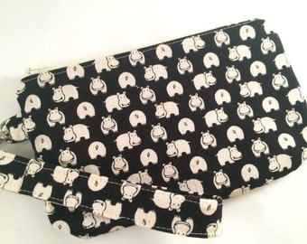 Black Hippos Wristlet with Detachable Wrist Strap