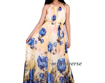 Prom Dress Women Plus Sizes Clothing Long Maxi Dress Floral Bridesmaid Dress Casual Beach Party Wedding Guest Cream Yellow Blue Chiffon