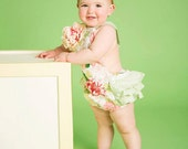 Vintage Style Toddler Floral Ruffled Baby Romper Sitter Made to Order  Photo Prop   Rose Cake Smash Pink Green