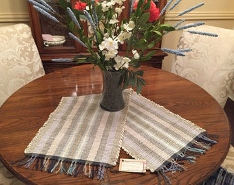 "Handwoven table runner 32"" long and 13"" wide"