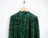 green silk shirt. plaid button down shirt. black sheer blouse with pointed collar. gold stripe blouse. 80s shirt. pleat front silk blouse.