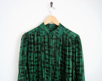 Vintage 1980s Green Sheer Silk Shirt. Plaid Print Button Down Blouse with Pointed Collar. Gold Stripe Shirt. 8Pleated Front Silk Blouse.