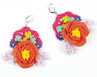 Earrings-Pink Swarovski Crystals Crochet Beaded Nature Floral Statement Earrings, Crochet Earrings, Bohemian Jewelry, Nonallergic Earrings