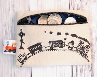 Train Coin Purse, Choo Choo Wallet, Toddler Boy Gift, Train Wallet, Toddler Train Purse, zippered Pouch, Kids Coin Purse, Toddler coin purse