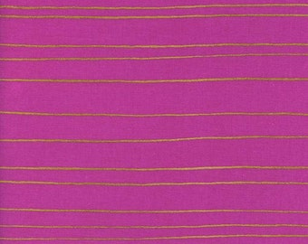 Fruit Dots Gold Stripe in Orchid Metallic, Melody Miller, Cotton+Steel, RJR Fabrics, 100% Cotton Fabric, 0031-2