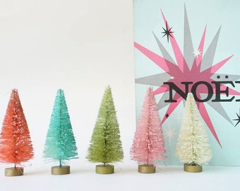 "4.25"" Dip Dyed Bottlebrush Trees in Every Color by Distinguished Flamingo"