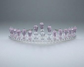 Pretty Light Pink Girls Tiara, Birthday Tiara, Princess Tiara, Flower Girl Tiara