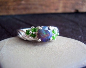 Genuine Black Ethiopian Opal & Chrome Diopside Ring - 925 Sterling Silver Ring - Alternative Engagement Ring - Unique Round Cut Wedding Ring