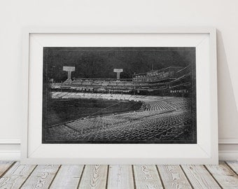 Vintage Boston Red Sox Fenway Park Baseball Stadium Park Blueprint Printed Photo Paper, Matte Paper, or Stretched Canvas