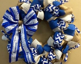 University of Kentucky UK KY Wildcats Fan Burlap Wreath Blue White - Basketball Football College