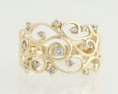 Diamond Ring - 10k Yellow Gold Scrolling Vine .16ctw L9978