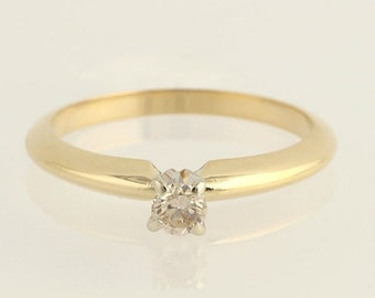 40% OFF Diamond Solitaire Engagement Ring - 14k Yellow & White Gold Genuine .16ct Band Unique Engagement Ring x7256