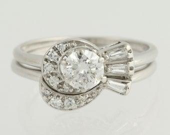 Vintage Diamond Engagement Ring & Wedding Band - 14k White Gold .78ctw Unique Engagement Ring L9577 R