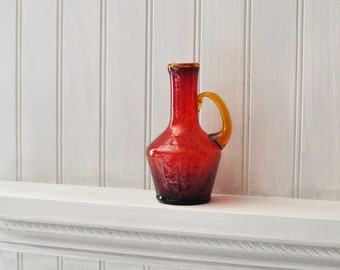 Vintage Glass Small Pitcher - Crackled Glass - Amber -