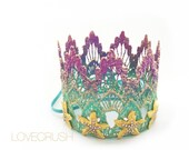 Mermaid Starfish || ombre magenta + seafoam || gold starfish || mini lace crown headband|| photo prop