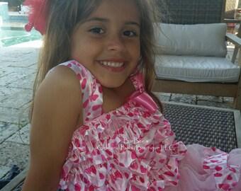 CLEARANCE SALE Pink Satin Heart Print Ruffled Dress, with satin ribbon, birthday