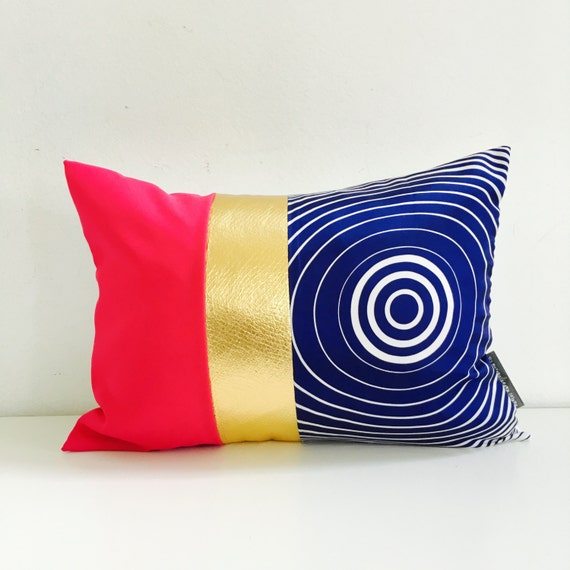 "SALE Blue Mod Pillow Cover 13""x18"" Lumbar Cushion Pillow Hot Pink Color Block Pillow Metallic Gold"