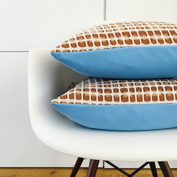 "Brown Retro Dotted Pillow Cover 18""x18"" Square Cushion Pillow Brown Beige Light Blue Vintage Motif"