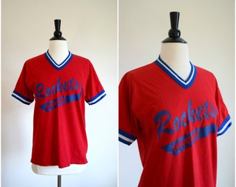 Vintage Rockets retro athletic tee / red white and blue baseball tee