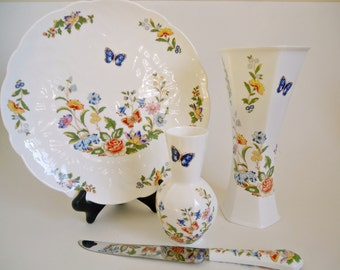 Aynsley 4 Piece Cottage Garden Vase Serving Plate Knife Floral Butterfly
