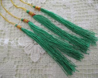 12  GREEN Silk TASSELS jewelry making