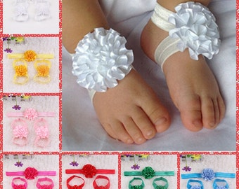 set of 5 Baby barefoot sandals, Headband and sandal set- girl footies - flower sandals- flower sandals- baby shoes- 9 colors you pick colors