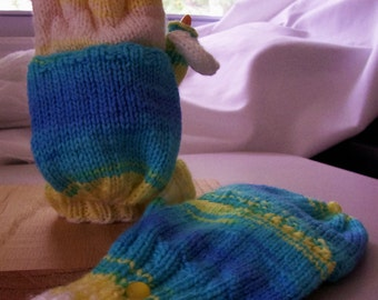 Convertible mittens / fingerless gloves, adult M, flip top mittens, with flip thumb, very soft