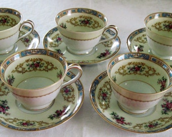 5 Vintage Noritake Porcelain China Cups & Saucers Colby Pattern Circa 1950