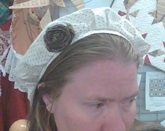 shabby chic cottage style cream and brown frumpy hat