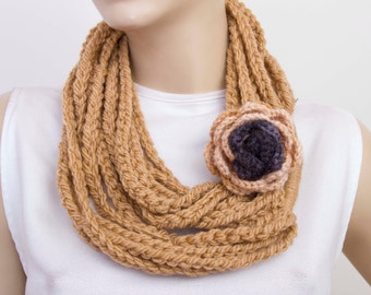 crochet lariat scarf , crochet chain loop scarf ,crochet infinity scarf with removable flower pin.