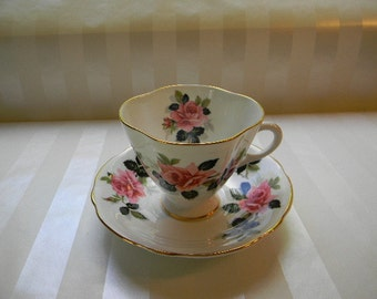 TEACUP, Vintage CLARENCE  Bone China Cup and Saucer