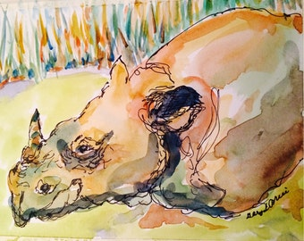 Rhinocerous // rhino // rhinoceros watercolor