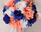 17 Piece Package Wedding Bouquet Bride Silk Flowers Bridal Party Bouquets Decoration CORAL DARK BLUE Navy Royal White Lily of Angeles COBL01