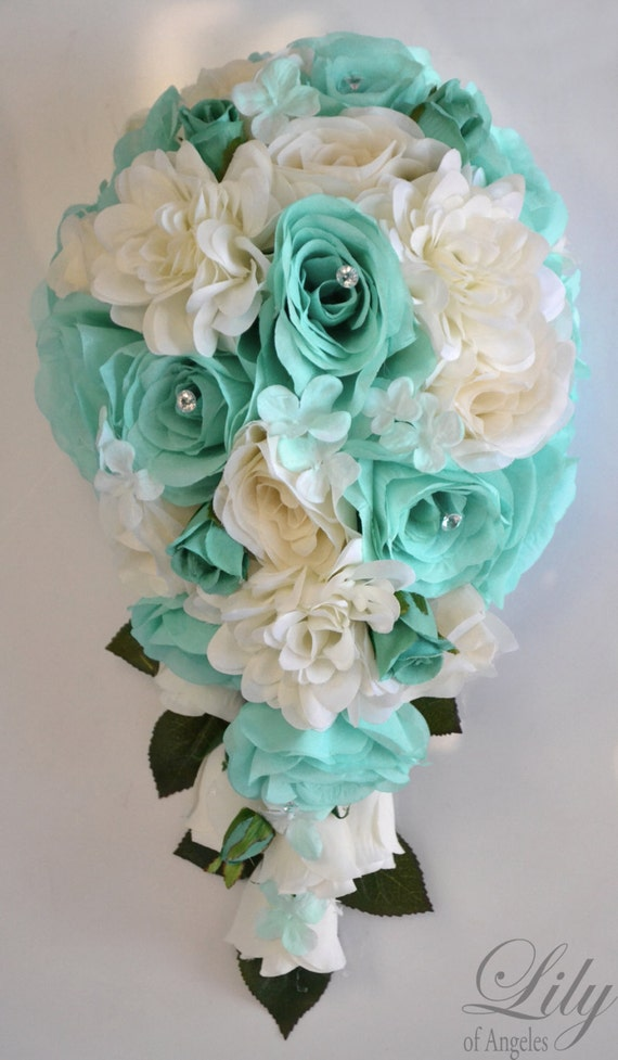 Wedding Bouquet Packages Silk : Piece package wedding bridal bouquet silk flowers bouquets