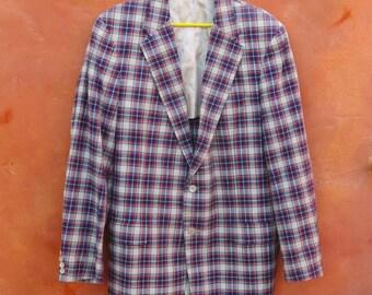Vintage 1960s Men's Madras Plaid Sport coat. Blazer Sportcoat Suit Coat Jacket. 2 Buttton. Blue White Yellow Red Green. 44L