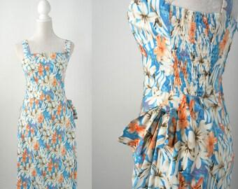 50s Dress, 50s Style Dress, Hawaiian Style Dress, 1950 Pin Up Dress, Floral 1950 Dress, 1950 Style Cotton Dress, Retro 50s Summer Dress