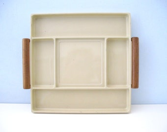 Vintage Divided Tray Wood Handles Made in Japan