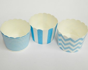 Cupcake Baking Cups, 20 Powder Blue Baking Cups, Candy / Nut Cup, Baking Cups, Ring Stripe, Vertical Stripe, Chevron, Muffin Liners, Cupcake