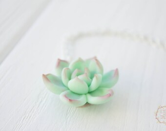 Blue Succulent Planter Necklace Pendant Wholesale Mini Succulent Plants Arrangement Succulent Jewelry Christmas Wedding Gifts