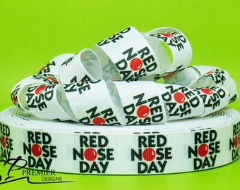 """7/8"""" Red Nose Day Grosgrain Ribbon"""