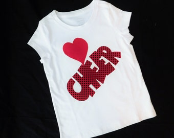 Love Cheer tank Tween, girl, toddler knit white tank or shirt with love heart CHEER applique in polka dot red and black sizes 12m - adult