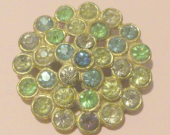 Vintage Multi Color Pastel Rhinestone Cluster Brooch