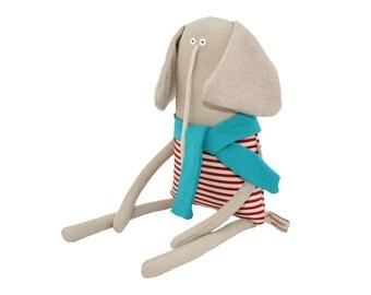 Elephant Art Doll, Stuffed Elephant Soft Toy Animal, Plush Elephant with Red Stripy Top and Turquoise Scarf, Poosac, Kids Toy, Grey Nursery
